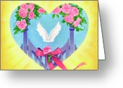 Angel Pastels Greeting Cards - Katelyn and Julia Greeting Card by Lisa Kretchman