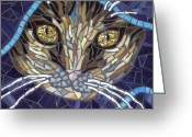 Tabby Glass Art Greeting Cards - Kath Greeting Card by Barbara Benson Keith
