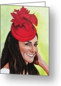 British Royalty Painting Greeting Cards - Katherine Duchess of Cambridge Greeting Card by Betty-Anne McDonald