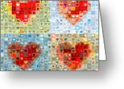Grid Of Heart Photos Digital Art Greeting Cards - Katrinas Heart Wall - Custom Design Created for Extreme Makeover Home Edition on ABC Greeting Card by Boy Sees Hearts