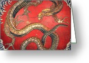 Reproductions Greeting Cards - Katsushika Hokusai DRAGON  Greeting Card by Pg Reproductions