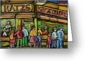 Corner Stores Greeting Cards - Katzs Houston Street Deli Greeting Card by Carole Spandau
