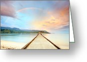Hanalei Beach Greeting Cards - Kauai Hanalei Pier Greeting Card by Monica and Michael Sweet