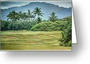 Tropical Golf Course Greeting Cards - Kauai Postcard Greeting Card by Linda Dunn