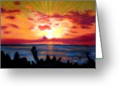 Tropical Island Greeting Cards - Kauai Sunrise Greeting Card by Marionette Taboniar