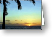 Palm Leaf Greeting Cards - Kauai Sunset Greeting Card by Ellen Henneke