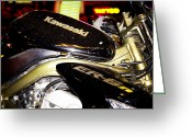 Motorbike Greeting Cards - Kawasaki Greeting Card by Stylianos Kleanthous