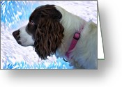 English Springer Spaniel Greeting Cards - Kaya paint filter Greeting Card by Steve Harrington
