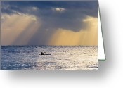 Light Greeting Cards - Kayak At Dawn Greeting Card by Mike  Dawson