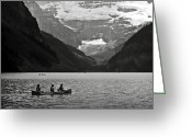 Glacier Greeting Cards - Kayak on Lake Louise Greeting Card by RicardMN Photography