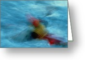 Time Exposures Greeting Cards - Kayaker, Time Exposure, Anchorage Greeting Card by Chris Johns