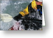 Paddles Greeting Cards - Kayaking The Iron Curtain Class V Greeting Card by Bobby Model