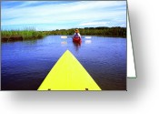 Sea Kayak Greeting Cards - Kayaking through Bloody Marsh Greeting Card by Thomas R Fletcher