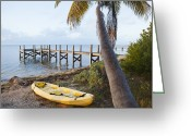 Sea Kayak Greeting Cards - Kayak,pier And Palm Tree Greeting Card by Marc Romanelli