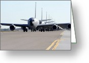 Military Vehicle Greeting Cards - Kc-135 Stratotankers In Lephant Walk Greeting Card by Stocktrek Images