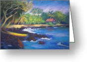 Tropical Island Pastels Greeting Cards - Kealakekua Bay Greeting Card by Karin  Leonard