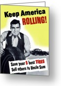 Warishellstore Greeting Cards - Keep America Rolling Greeting Card by War Is Hell Store