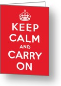 Britain Painting Greeting Cards - Keep Calm And Carry On Greeting Card by English School