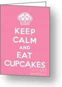 Posters Greeting Cards - Keep Calm and Eat Cupcakes - pink Greeting Card by Andi Bird
