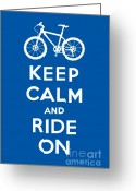 Biking Greeting Cards - Keep Calm and Ride On - Mountain Bike - blue Greeting Card by Andi Bird