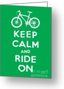Biking Greeting Cards - Keep Calm and Ride On - Mountain Bike - green Greeting Card by Andi Bird