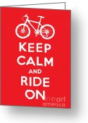 Biking Greeting Cards - Keep Calm and Ride On - Mountain Bike - red Greeting Card by Andi Bird