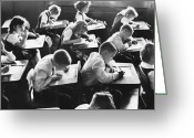School Days Greeting Cards - Keep Your Eyes on Your Own Paper Greeting Card by M E Warren and Photo Researchers