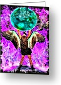 Wings Greeting Cards - Keeper of the Crow Series The Calling Above Ground Greeting Card by Tisha McGee