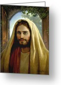 Jesus Art Painting Greeting Cards - Keeper of the Gate Greeting Card by Greg Olsen