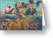 Sea Life Pastels Greeting Cards - Keepers of the Kelp Greeting Card by Tracy L Teeter
