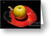 Food And Beverage Art Greeting Cards - Keeping The Doctor Away Greeting Card by Lois Bryan