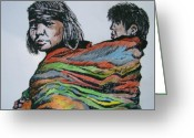 Native American Indians Drawings Greeting Cards - Keeping Warm Greeting Card by Leslie Manley