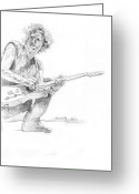 Pencil Drawing Drawings Greeting Cards - Keith Richards  Fender Telecaster Greeting Card by David Lloyd Glover