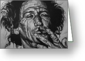 White Drawings Greeting Cards - Keith Richards Greeting Card by Steve Hunter