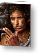 Rolling Stones Greeting Cards - Keith Richards1-Burning lights 4 Greeting Card by Reggie Duffie