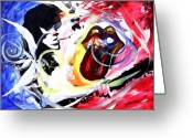 Rolling Stones Painting Greeting Cards - Keiths Richard Fish Greeting Card by J Vincent Scarpace