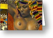 African American Female Greeting Cards - Kenji Greeting Card by Gary Williams
