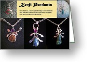 Sterling Silver Greeting Cards - Kenji Pendants Greeting Card by Vanessa Williams