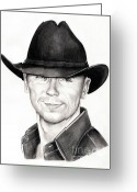 Graphite Greeting Cards - Kenny Chesney Greeting Card by Murphy Elliott