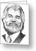 Famous People Drawings Greeting Cards - Kenny Rogers Greeting Card by Murphy Elliott