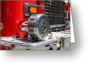Trucks Greeting Cards - Kensington Fire District Fire Engine Siren . 7D15879 Greeting Card by Wingsdomain Art and Photography