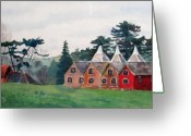 Rooves Painting Greeting Cards - Kent Country Houses Greeting Card by Debbie Homewood
