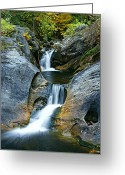 Kent Connecticut Greeting Cards - Kent Falls Double Cascades-autumn Greeting Card by Thomas Schoeller