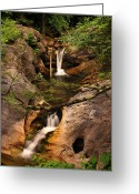 Cascades Greeting Cards - Kent Falls Double Cascades Greeting Card by Thomas Schoeller