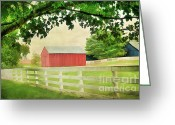 Old Country Roads Greeting Cards - Kentucky Country Side Greeting Card by Darren Fisher