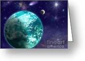 Outerspace Greeting Cards - Kepler-22b New Earth Greeting Card by Laurel Nendza