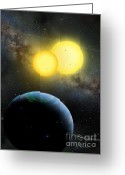 Extrasolar Planet Greeting Cards - Kepler-35 Greeting Card by Lynette Cook