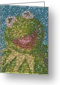 Bottle Cap Greeting Cards - Kermit Mt. Dew Bottle Cap Mosaic Greeting Card by Paul Van Scott