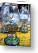 Knob Greeting Cards - Kerosene Lamps Greeting Card by Yali Shi