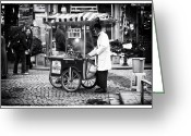 Street Vendor Greeting Cards - Kestane in Istanbul Greeting Card by John Rizzuto